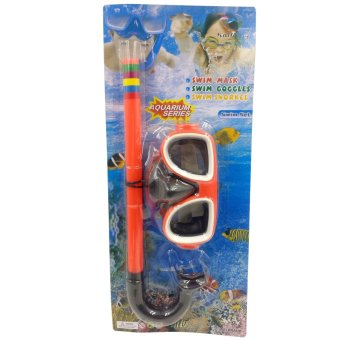 Swimming Goggles Snorkel Mask with Anti-fog Silicone Set (Orange) Price Philippines