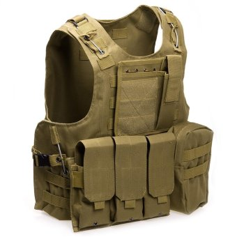 Sports Outdoors Protective Gear Amphibious Tactical Military Molle Waistcoat Combat Assault Plate Carrier Vest(Khaki) - intl Price Philippines