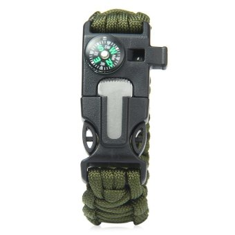 Harga 5in1 Outdoor Survival Bracelet Flint Whistle Compass Scraper (Army Green)