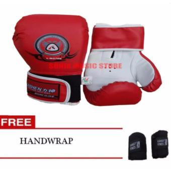 Harga Lishen Boxing Gloves 12oz Red Free Handwrap
