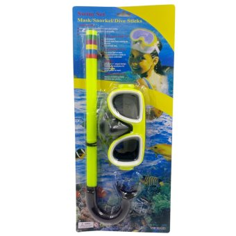 Swimming Goggles Snorkel Mask with Anti-fog Silicone Set (Yellow) Price Philippines