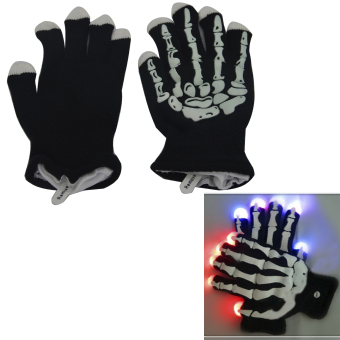 Harga Halloween Party Props Gift Product LED Glowing Skeleton Gloves