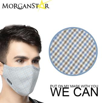 Wecan 2.5 pm dustproof checkered cotton face masks with activated carbon (Male) (BrownandBlue) Price Philippines