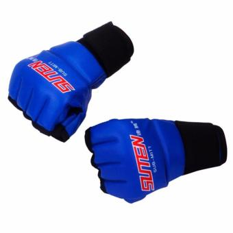 Harga Training Sparring Half Mitts Leather MMA Muay Thai Blue Pair
