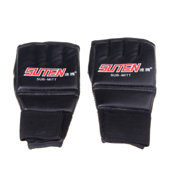 Harga PU Leather Half Mitts Mitten MMA Muay Thai Training Punching Sparring Boxing Gloves Red