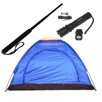 Harga 5Person Dome Camping Tent (Blue) with Police Stungun with Expandable Baton