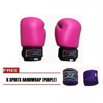 Harga K Sports Boxing Gloves 12oz (Pink) with K Sports Hand Wraps (Purple)