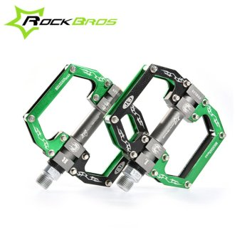 Harga ROCKBROS HOT Sale MTB Ultralight Bike Bicycle Pedals Mountain Road Bike Pedal Cycling Aluminum Alloy 3 Styles Hollow Pedals(A Green) - intl