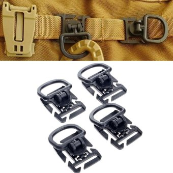 Harga 4Pcs Rotation D ring clip molle webbing clamp tactical backpack attachment strap hang military camp hike bushcraft moutain tool - intl