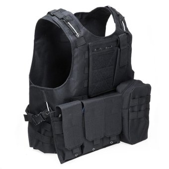 Sports Outdoors Protective Gear Amphibious Tactical Military Molle Waistcoat Combat Assault Plate Carrier Vest(Black) - intl Price Philippines
