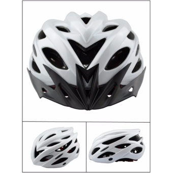 Harga UNISEX M-L adjustable Cycling Mountain Bike MATTE WHITE Helmet with Visor and Safety light