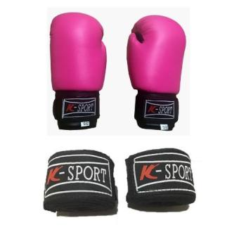 Harga K Sports Boxing Gloves 10oz (Pink) with K Sports Handwrap (Black)