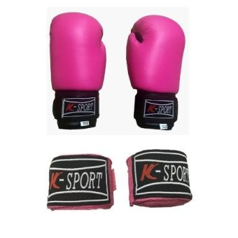 Harga K Sports Boxing Gloves 10oz (Pink) with K Sports Handwrap (Pink)