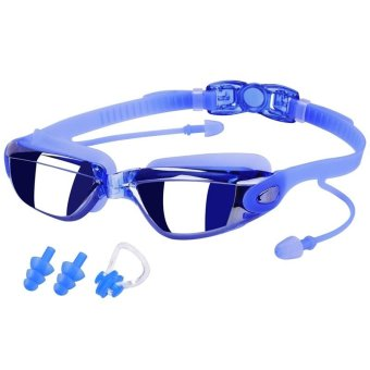 Anti-Fog Swim Goggles No Leaking Electroplating Swimming Goggles Glasses with Free Protective Case for Adult Men Women Youth Kids Child (Blue) - intl Price Philippines