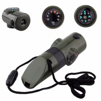 Harga 7-in1 Emergency Survival Safety Whistle Compass Thermometer Flashlights Magnifier