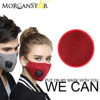 Wecan 2.5 pm dustproof plain cotton face masks with filter breathing valve (Red) (Male) Price Philippines