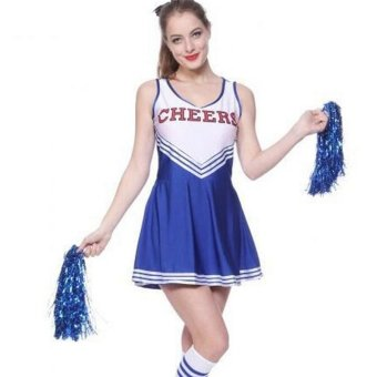 Sexy Cheerleader School Girl Fancy Dress Sport Uniform Top+Skirt Costume Pom Pom Blue - intl Price Philippines