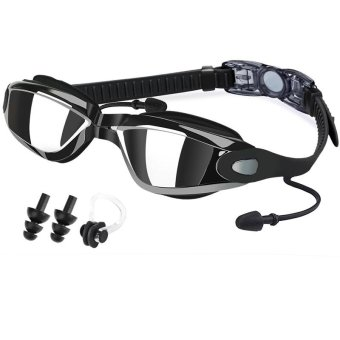Anti-Fog Swim Goggles No Leaking Electroplating Swimming Goggles Glasses with Free Protective Case for Adult Men Women Youth Kids Child (Black) - intl Price Philippines
