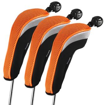 Harga Andux 3pcs/set Golf Hybrid Club Head Cover Driver Headcovers Interchangeable mt/hy07 Orange