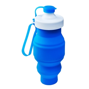 Collapsible Silicone Water Bottle BPA Free Retractable Foldable Sports Mug(Blue, 520 mL) Price Philippines