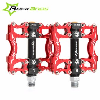 Harga ROCKBROS HOT Sale MTB Ultralight Bike Bicycle Pedals Mountain Road Bike Pedal Cycling Aluminum Alloy 3 Styles Hollow Pedals(B Red) - intl