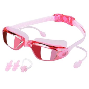 Anti-Fog Swim Goggles No Leaking Electroplating Swimming Goggles Glasses with Free Protective Case for Adult Men Women Youth Kids Child (Pink) - intl Price Philippines
