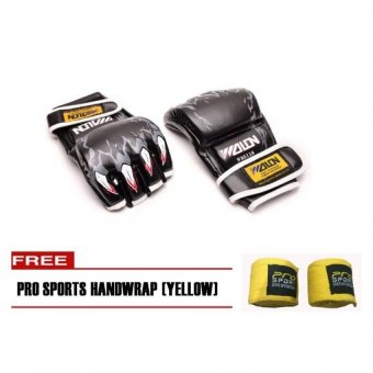 Harga Wolon MMA Boxing Gloves (Black) with Pro Sports Handwrap (Yellow)