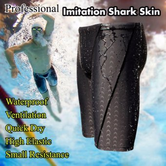 KEEP DIVING Professional Men's Competitive Swim Trunks Shark Skin Swimwear Brand Solid Jammer Swimsuit Pant - intl