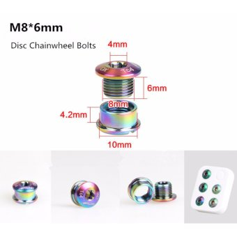 M8*6 GUB Colorful Titanium Alloy Bike Chainwheel Disc Bolts For MTBRoad Bicycle CNC Crankset Crank Arm Bolt Chain Wheel Screws - intl