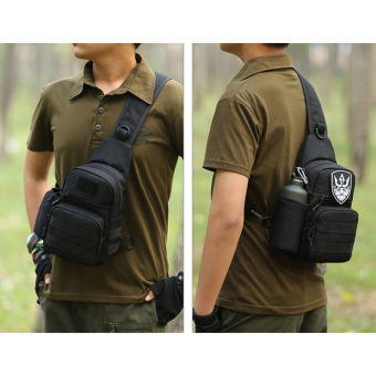 Men Nylon Military Tactical Travel Shoulder Messenger Sling PackChest Sport Bag Black