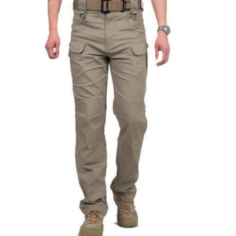 Men Tactical Cargo SWAT Force Training Sports Military Army Pants (Khaki)