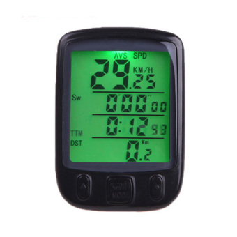 Mountain Bike Bicycle Multifunctional Waterproof Digital Speedometer Odometer Computer Timer with LCD Backlight Black - intl
