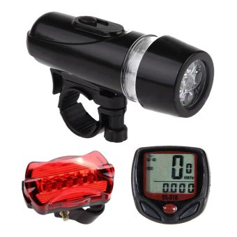 niceEshop Wired Bicycle Speedometer And 5 LED Mountain Bike Cycling Head Light 5 LED Bicycle Rear Lights Lamp Bicycle Accessories Set - intl