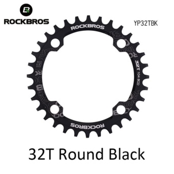 ROCKBROS 32T/34T/36T/38T Crankset MTB Bike Bicycle Parts Oval RoundBicycle Bike Crank & Chainwheel 104BCD Wide NarrowChainring(32T Round Black) - intl