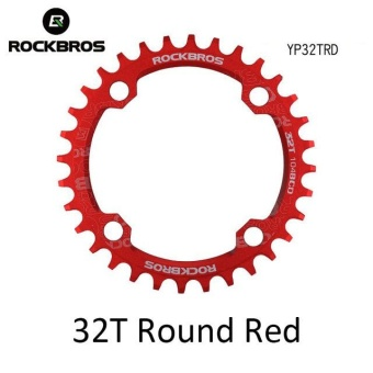 ROCKBROS 32T/34T/36T/38T Crankset MTB Bike Bicycle Parts Oval RoundBicycle Bike Crank & Chainwheel 104BCD Wide NarrowChainring(32T Round Red) - intl