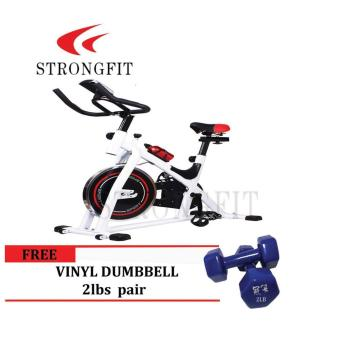Spinning Bike with pair of 2 lbs vinyl dumbbell