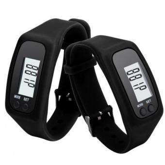 Sport Digital LCD Pedometer Running Step Walking Distance CalorieCounter Silicone Watch Bracelet (Black) - Intl