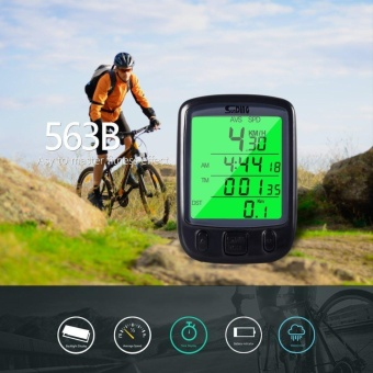 Sunding SD 563B Multifunction Waterproof Cycling Bike Odometer Speedometer LCD Green Backlight with Real-time Display of the Current Speed for Bicycle Training - intl