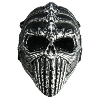 ... Motorcycle Riding Source · Tactical Military Spine Skeleton Skull Full Face Mask Hunting Costume Halloween Silver Black
