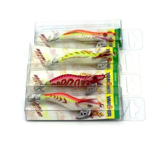 The special wood shrimp fishing lures 4pcs 12g 8cm 2#squid jig hooks swimbaits bass fishing baits artificial fishing tackles
