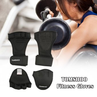 TOMSHOO Unisex Weightlifting Gloves with Wrist Wrap Hand Grip PadsBundle Set for Men and Women 2-in-1 Fitness Bundle for CrossTraining - intl
