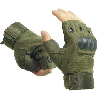 Vococal Outdoor Airsoft Hunting Cycling Motorcycle Driving TacticalFingerless Gloves L Army Green