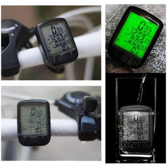 Waterproof Bicycle Cycle Bike Lcd Computer Speedometer OdometerBacklight Black - intl