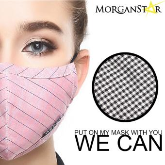 Wecan 2.5 pm dustproof checkered cotton face masks with activatedcarbon (Female) (BlackandWhite)