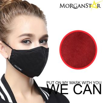 Wecan 2.5 pm dustproof plain cotton face masks with activatedcarbon (Female) (Red)