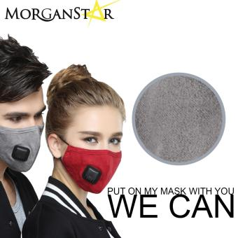 Wecan 2.5 pm dustproof plain cotton face masks with filter breathing valve (Female) (Gray)
