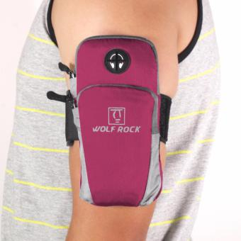 Wolf Rock Arm Bag Running Jogging Gym Cycling Armband Arm Band Holder Bag For Mobile Phones (Pink)