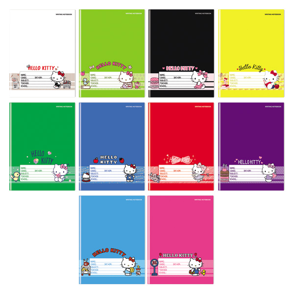 Image of Orions Hello Kitty Color Coding Writing Notebook Set of 10