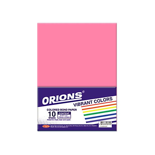 Image of Orions Vibrant Color Colored Bond Paper 10's - Pink