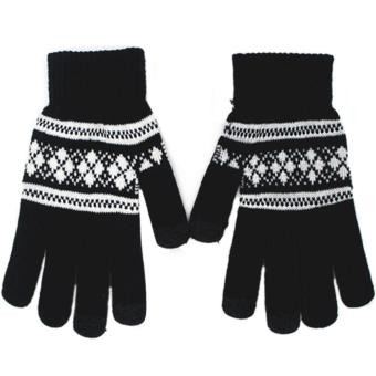 1 Pair of Unisex Touch Screen Sensitive Gloves Knitted Winter Warm Christmas Glove Black - intl